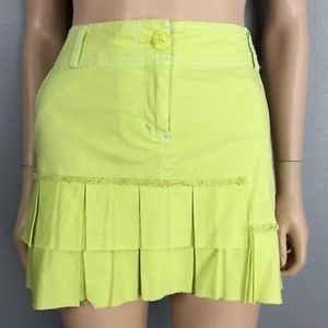 Pleated Mini Lime Cotton Spandex Stretch Skirt 2